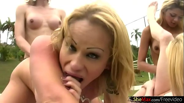 Orgy, Shemale orgy, Outdoor shemale